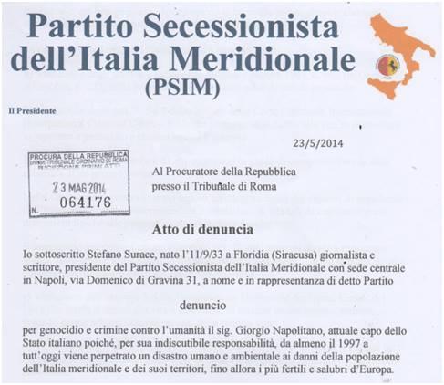 Denunciato Napolitano per crimini contro l\'umanit