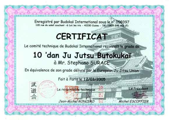 Certificat Budokai