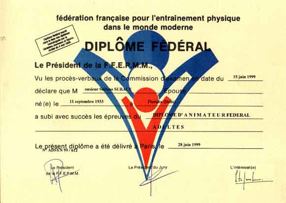 Diploma federal Instructeur FFEPMM