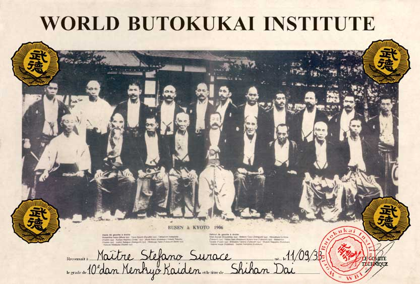 Diploma of World Butokukai Institute